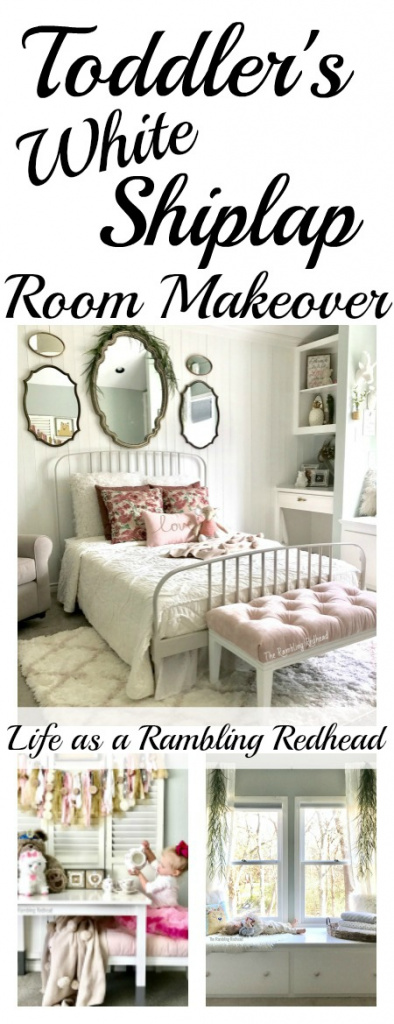 GORGEOUS Toddler Girl's Room Makeover! Adorable shiplap and window seat! (Life as a Rambling Redhead)